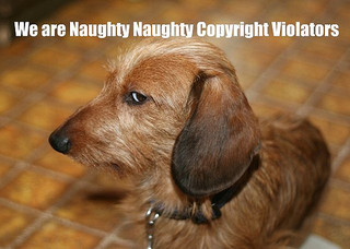 "Banner saying ""We are naughty naughty copyright violators"""