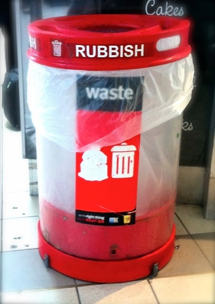Garbage can in Melbourne australia with the label 'Rubbish'