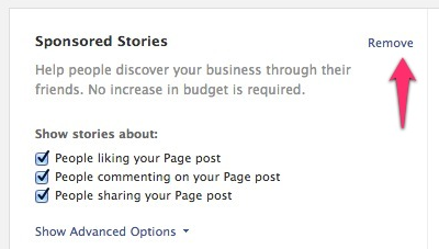 Facebook - Create Page Post Ad - Remove Sponsored Stories V2