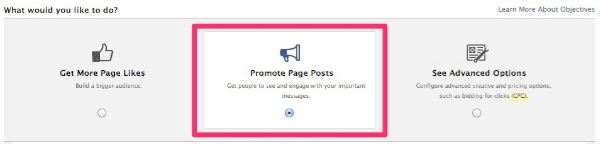 Facebook - Create Page Post Ad - Select Page Post V2