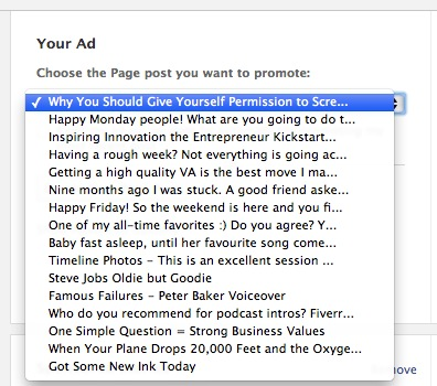 Facebook - Create Page Post Ad - Select The Specific Post