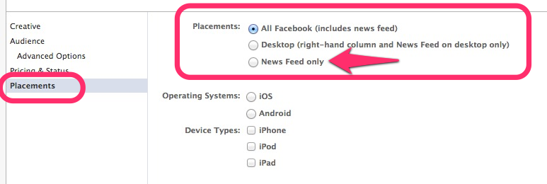 Setting Facebook Ad Placement Using Facebook Power Editor