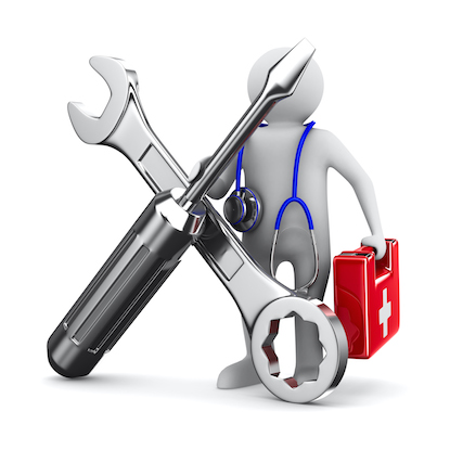 artwork of technician with tools