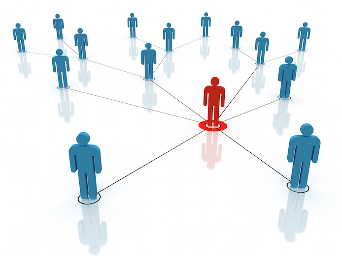 An illustration of a network of people