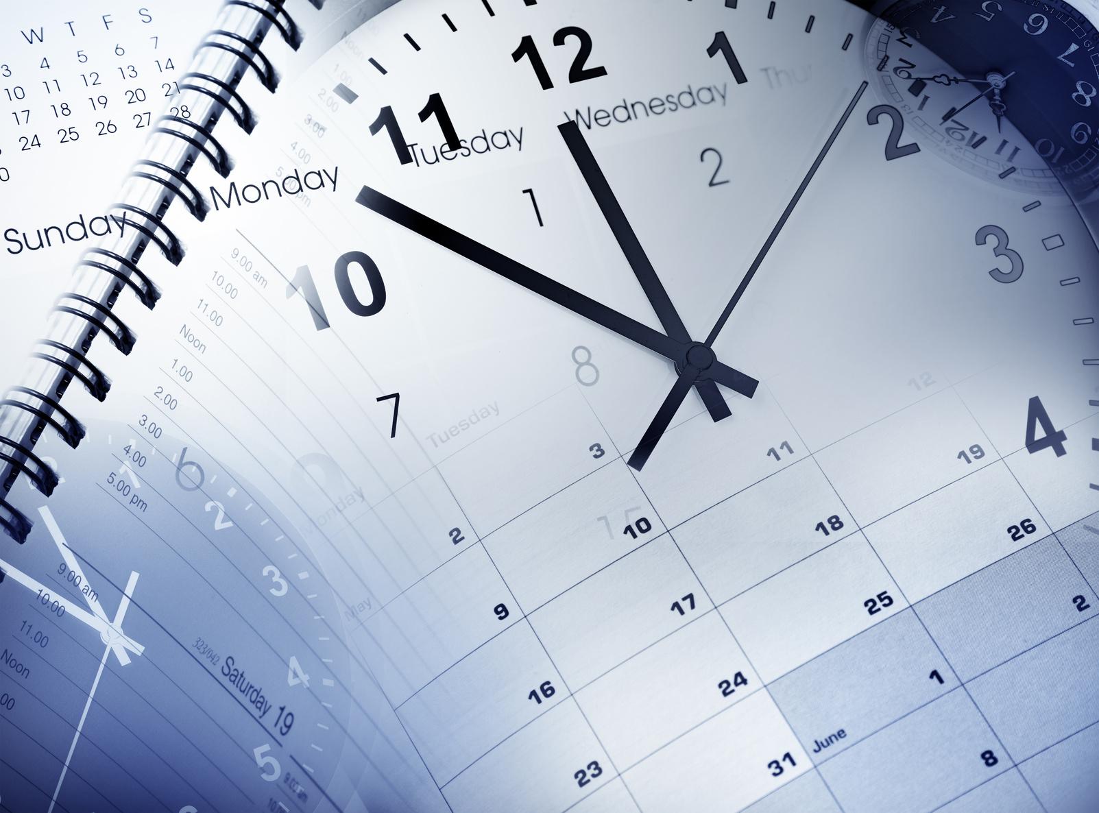Calendar and a clock